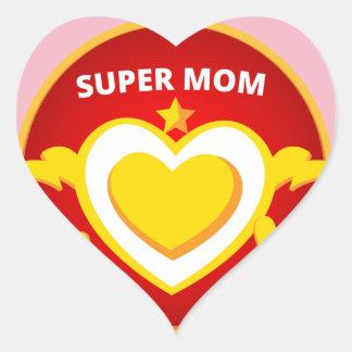 Emblème drôle de maman d'instantané de super héros sticker cœur