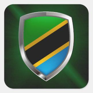 Emblème métallique de la Tanzanie Sticker Carré