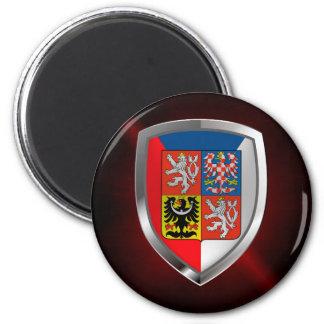 Emblème métallique de République Tchèque Magnet Rond 8 Cm
