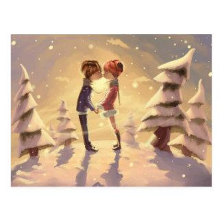 Embrassez-moi - hiver Romance Carte Postale