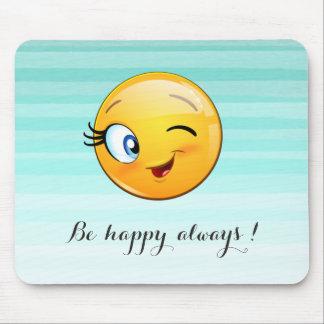 Emoji souriant clignotant adorable Visage-Est Tapis De Souris