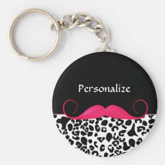 Empreinte de léopard Girly de moustache rose à la Porte-clé Rond