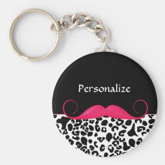 Empreinte de léopard Girly de moustache rose à la Porte-clés