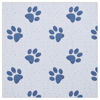 empreinte de patte de scintillement de chat - bleu tissu