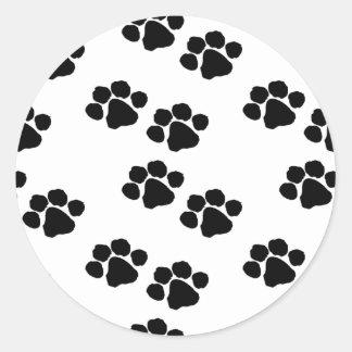Empreintes de pattes animaux sticker rond