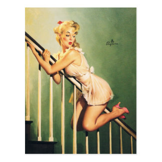 En bas des escaliers - rétro fille Pin- Cartes Postales