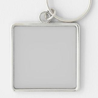 En blanc gris de la tendance 2014 de couleur de porte-clé carré argenté