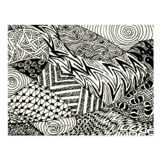 en noir et blanc - lamantin abstrait carte postale