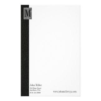 En-tête de lettre en cuir noir d'affaires de papier à lettre customisable