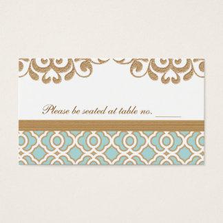 Endroit marocain de Tableau de mariage d'or bleu Cartes De Visite