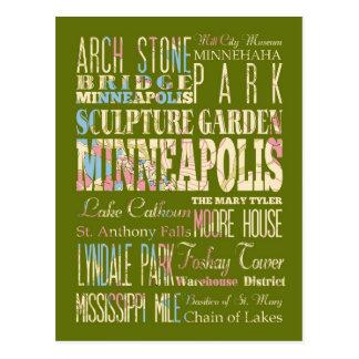 Endroits célèbres de Minneapolis, Minnesota Carte Postale