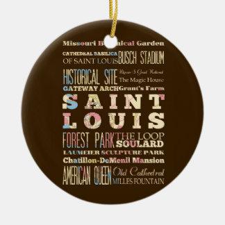 Endroits célèbres de Saint Louis, Missouri Ornement Rond En Céramique