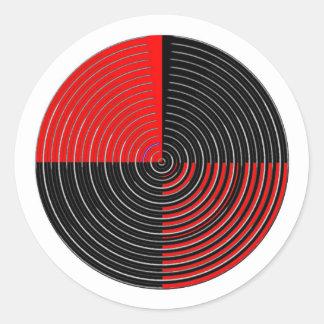 Énergie rouge Chakra - filets noirs de l'argent n Sticker Rond