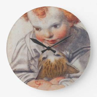 Enfant avec l'horloge de chat grande horloge ronde