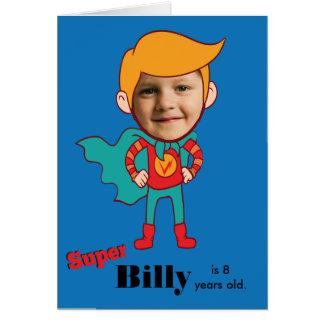 Enfant d'anniversaire de superhéros carte de vœux