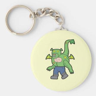 Enfant de dragon de bande dessinée porte-clé rond