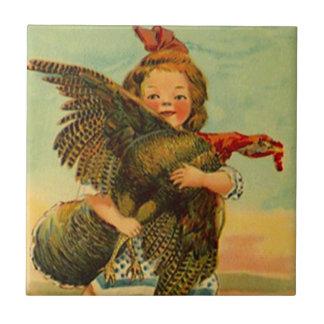 Enfant sauvage vintage de thanksgiving de dîner de petit carreau carré