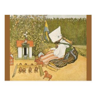 Enfant suédois avec des jouets carte postale