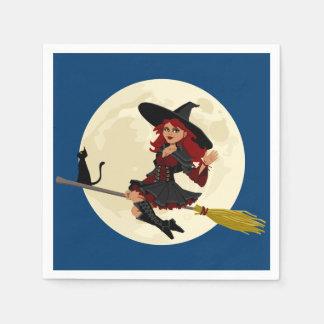 Enfants amicaux de sorcière de Halloween Serviette Jetable