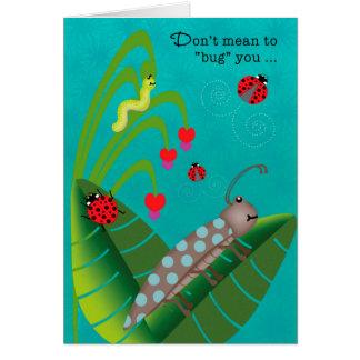 Enfants aux insectes drôles de colonie de vacances carte de vœux