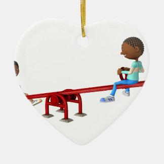 Enfants d'Afro-américain de bande dessinée sur une Ornement Cœur En Céramique