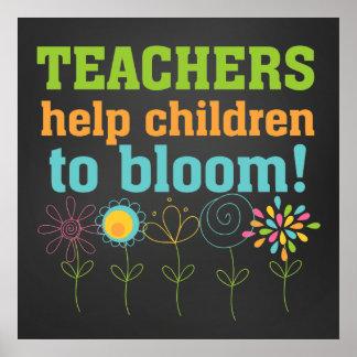 Enfants d'aide de professeurs à fleurir affiche de
