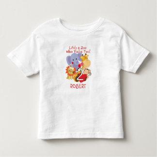 Enfants d'anniversaire d'animaux de zoo les 2èmes t-shirt pour les tous petits