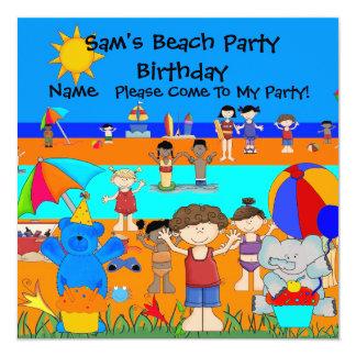 Enfants de fille de garçon de plage d'anniversaire carton d'invitation  13,33 cm
