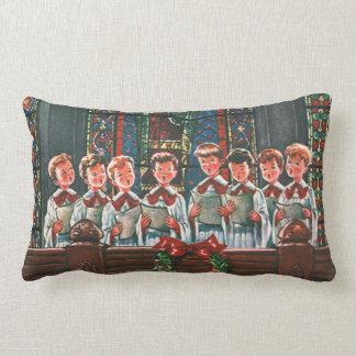 Enfants vintages de Noël chantant le choeur dans Coussin
