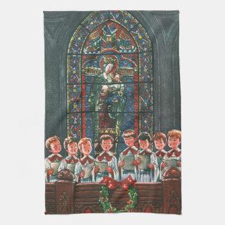 Enfants vintages de Noël chantant le choeur dans Linge De Cuisine