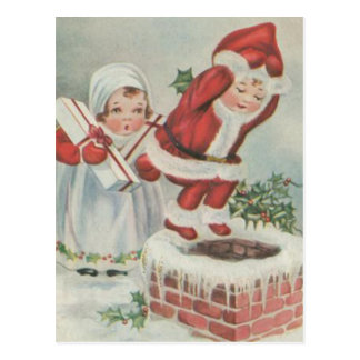 Enfants vintages de Père Noël Cartes Postales