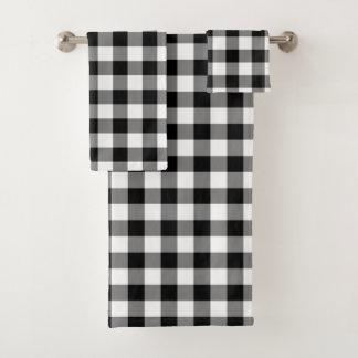 Ensemble blanc noir de serviette de motif de