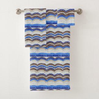Ensemble bleu de serviette de salle de bains de