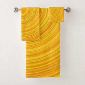 Ensemble circulaire jaune et orange de serviette