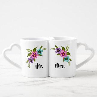 Ensemble coloré de tasse de fleurs