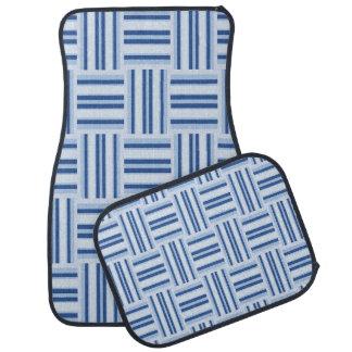 Ensemble de tapis de voiture de rayures bleues