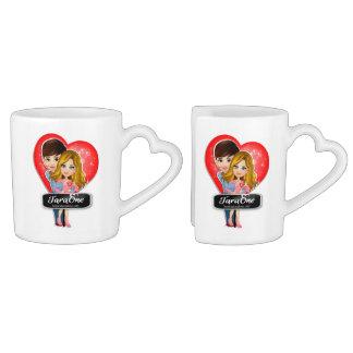 Ensemble de tasse de café de coeurs de couples