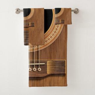 Ensemble en bois naturel de serviette de musique