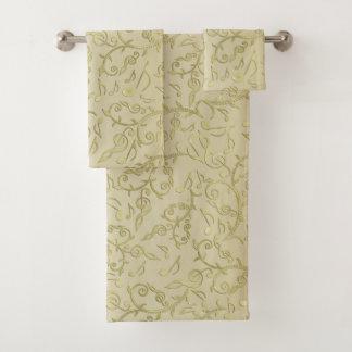 Ensemble floral de serviette de motif de notes de