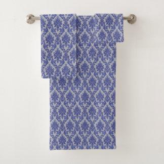 Ensemble floral gris bleu-clair de serviette de