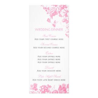 Ensemble floral gris rose de modèle de menu de