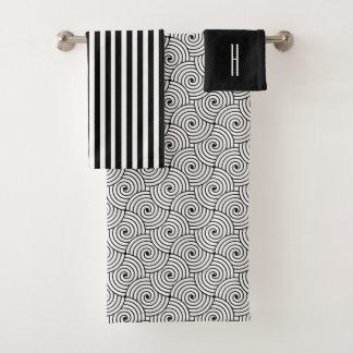 Ensemble noir et blanc moderne de serviette de