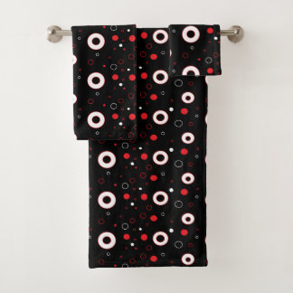 Ensemble noir rouge et de blanc de bulles de polka