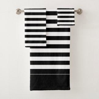 Ensemble rayé noir et blanc de serviette de Bath