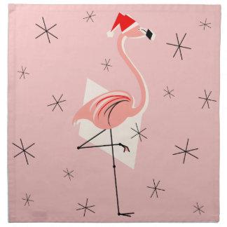 Ensemble rose de serviette de Père Noël de flamant