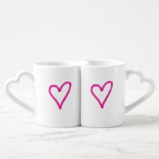 Ensemble rose simple de tasse de coeurs