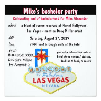 Enterrement de vie de jeune garçon de Las Vegas Carton D'invitation 13,33 Cm