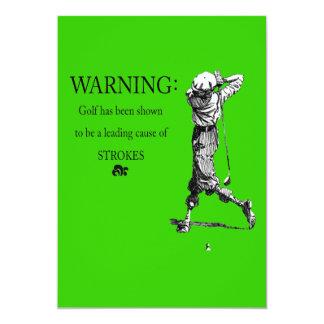 enterrement de vie de jeune garçon jouant au golf carton d'invitation  12,7 cm x 17,78 cm