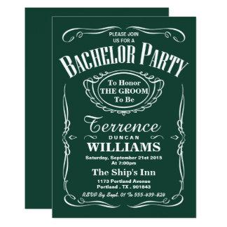 Enterrement de vie de jeune garçon vert à la mode carton d'invitation  12,7 cm x 17,78 cm