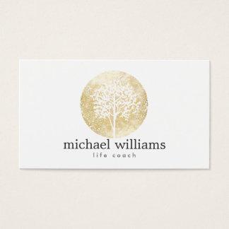 Entraîneur d'or de la vie d'arbre d'aquarelle, carte de visite standard